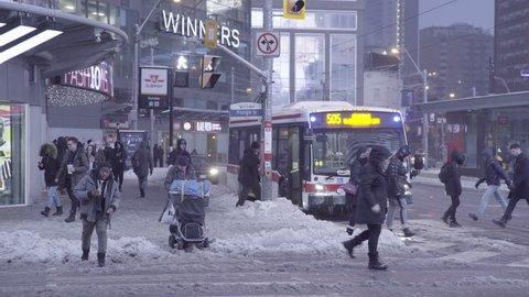 TORONTO CANADA- FEB 13 2019: WINTER IN BIG CITY- YOUNG AND DUNDAS SQAURE TORONTO