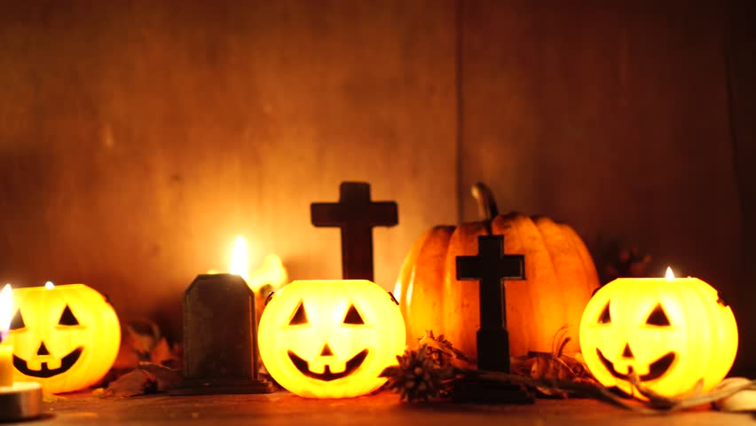 Dark Halloween with candle light at night, dolly shot : 4k | Shutterstock HD Video #1024271342
