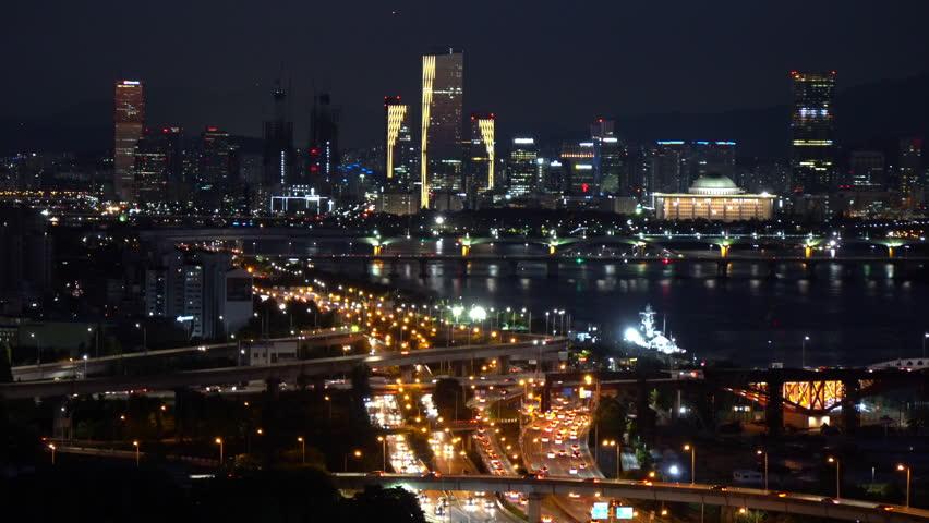 Traffic at Night in Seoul City,South Korea. | Shutterstock HD Video #1024290212