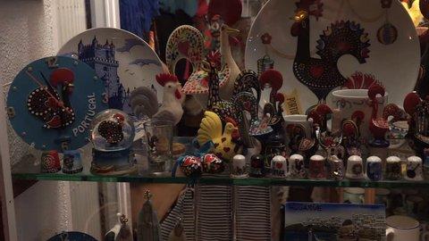 Faro, Portugal - 17th January 2016: Traditional Portuguese gifts in the window of a Souvenir shop in Faro, Algarve, Portugal