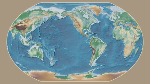 Ethiopia area presented against the global physical map in the Kavrayskiy VII projection with animated oblique transformation