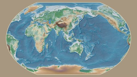 Galapagos Islands area presented against the global physical map in the Kavrayskiy VII projection with animated oblique transformation
