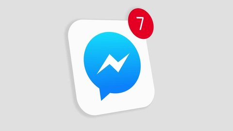 HILTON SOUTH AFRICA  JANUARY 25 2019: A motion graphic video animation illustrating the Facebook Messenger social media website logo app icon popup notification messages counting up
