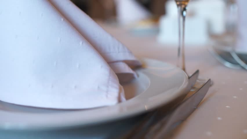 Banquet table with food and drink in the restaurant | Shutterstock HD Video #1024347302