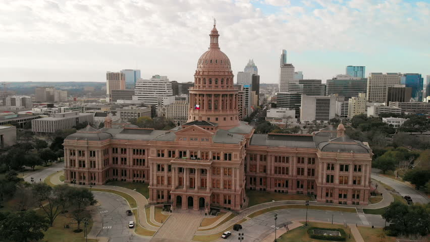 Aerial View of the Government State Capitol Building in Austin, Texas