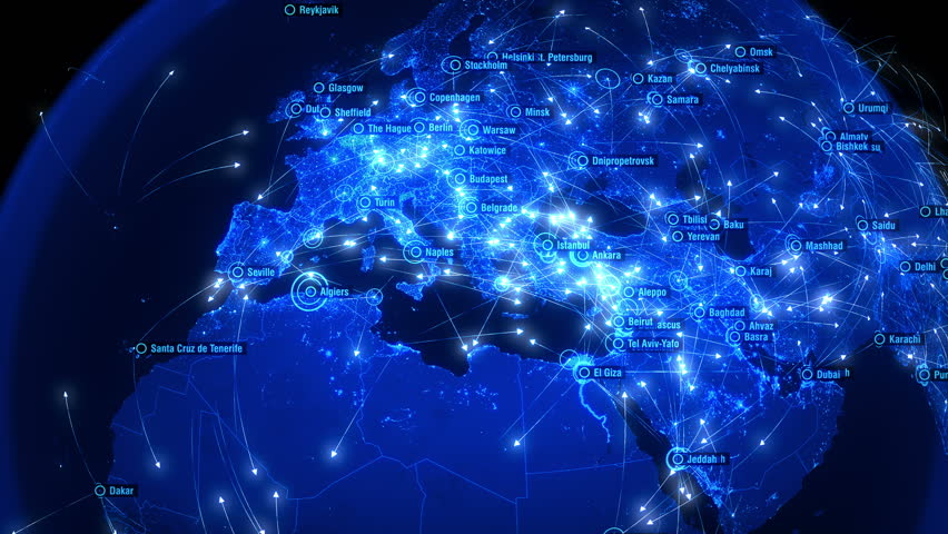 Global Communications over Asia and Europe. Arrows Fly Slowly Between Cities. Global Connections over Asia and Europe. Blue and Slow Version. Global Flight Connections. Flight Paths.