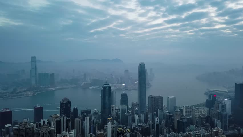 Hong Kong Cityscape view from Peak in a  Foggy Morning. Timelapse