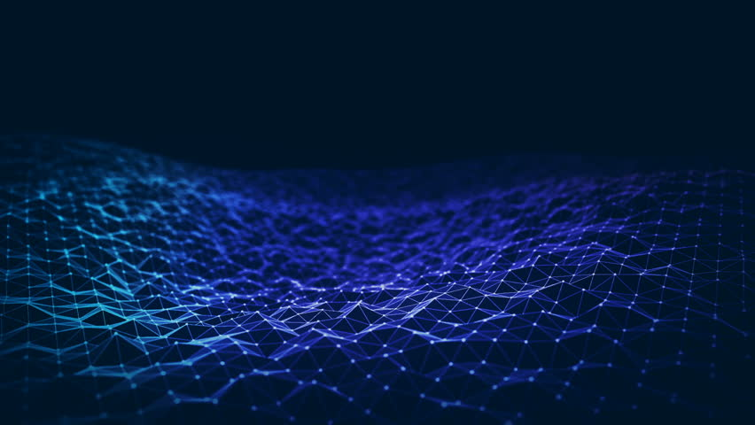 Abstract background with animation of waving surface from blinking hexagons. Technologic electricity backdrop. Seamless loop.   Shutterstock HD Video #1024390952
