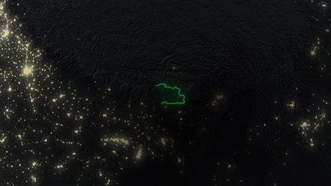 Realistic 3d animated earth showing the borders of the country Bhutan and the capital Thimphu in 4K resolution at nighttime