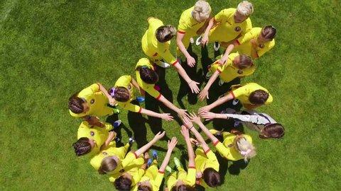 Cluj-Napoca/ Romania - June 2017: Romanian Women's Soccer Team. Team spirit. Celebrate women in sports. Football training. Aerial