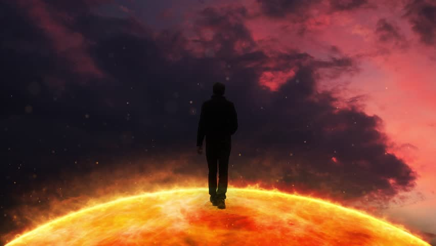 Artistic walking on abstract sun star. | Shutterstock HD Video #1024404032