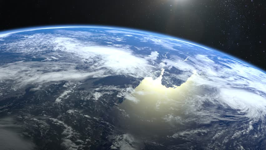 Earth from space. Stars twinkle. Flight over the Earth. The camera rotates to the left. 4K. Sunrise. The earth slowly rotates. Realistic atmosphere. 3D Volumetric clouds. The sun is in the frame. | Shutterstock HD Video #1024417442