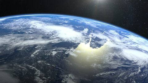 Earth from space  stars twinkle  flight over the earth  the camera rotates  to the left  4k  sunrise  the earth slowly rotates  realistic atmosphere   3d volumetric clouds  the sun is in the frame