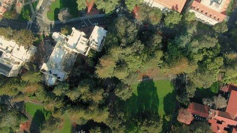 Aerial looking down of Of Berkeley University & The Cal Campus Campanile. Berkeley, California, USA. 17 February 2019