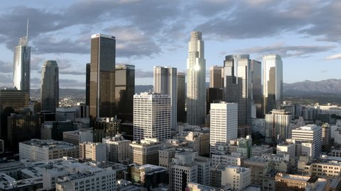 Downtown Los Angeles Aerial Los Angeles, CA - 02.18.2019, ProRes 422HQ 30fps
