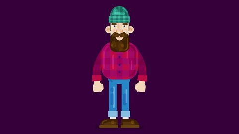 Explainer video animated character, male with a beard in a millenial style talking and pointing finger. 2D animation of vector illustration. Made in 4K + Alpha channel