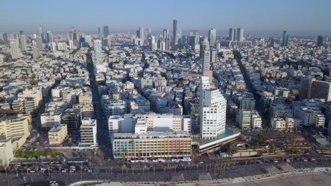 One minute aerial footage of Tel Aviv (Israel) coastline and skyline, captured over The Mediterranean Sea on a Beautiful clear sunny day.