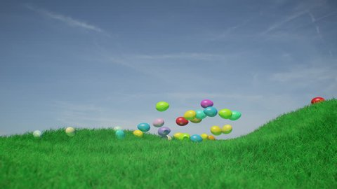 Spring time. Easter eggs. 3D animation of easter eggs rolling towards the camera on a green field in monochrome colors. Blue sky with a friendly atmosphere