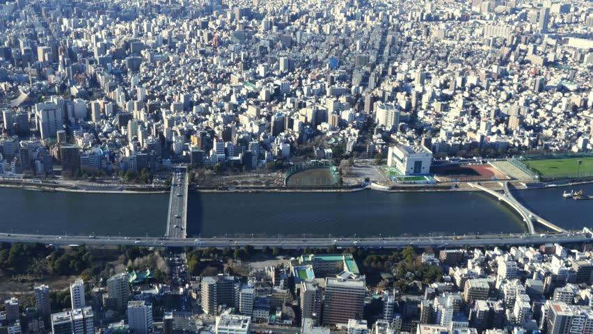 Bird's eye view of Tokyo city, Japan. #1024650692
