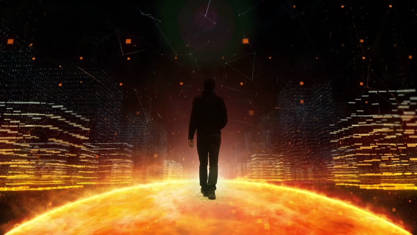 Person walks alone in futuristic digital cyberspace city with abstract sun globe. | Shutterstock HD Video #1024660532