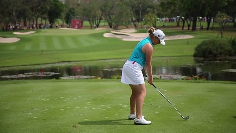 Chonburi, THAILAND - FEB 24, 2019:Bronte Law of England in action during Honda LPGA Thailand 2019 at Siam Country Club Pattaya Old Course on FEB 24, 2019 in Chonburi, Thailand,
