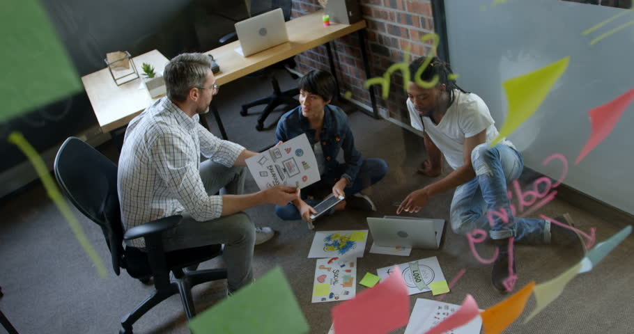 High view of diverse business people interacting with each other in office. Business people working together. | Shutterstock HD Video #1024752422