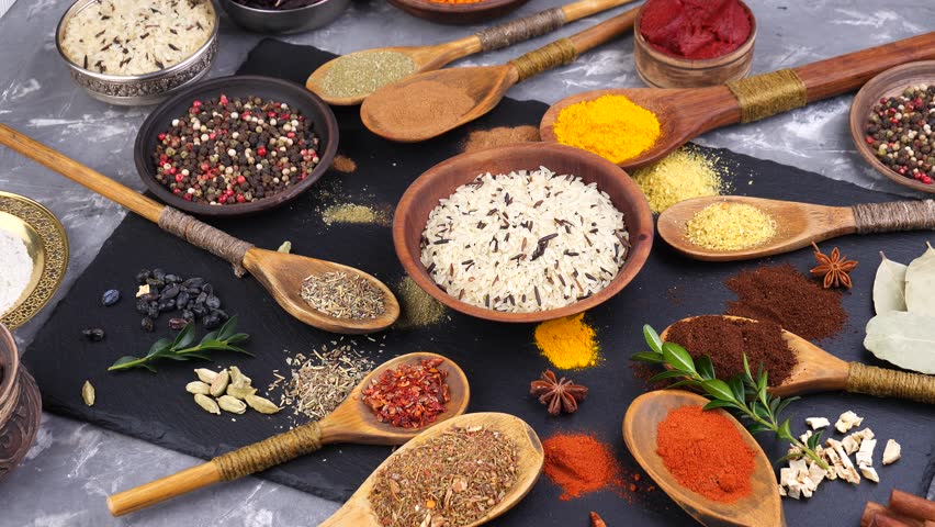 Spices and seasonings for cooking in the composition on the table #1024794932