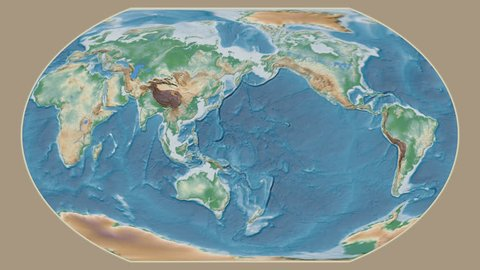 United States Alaska area presented against the global physical map in the Kavrayskiy VII projection with animated oblique transformation