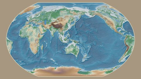 Turks And Caicos Islands area presented against the global physical map in the Kavrayskiy VII projection with animated oblique transformation