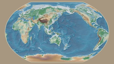 Trinidad And Tobago area presented against the global physical map in the Kavrayskiy VII projection with animated oblique transformation