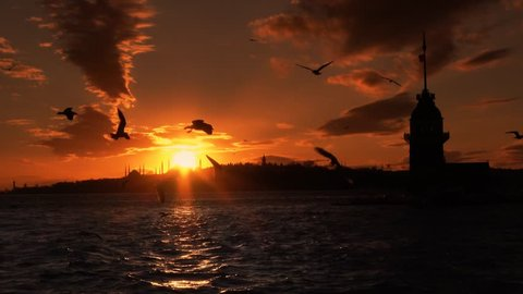 istanbul sunset Turkey Cityscape Hagia Sophia, Blue Mosque, Topkapi Palace, Maiden's tower and beautiful sunset sunset istanbul backround. istanbul seagull romantic sunset. ISTANBUL Serial VIDEOS 1-5
