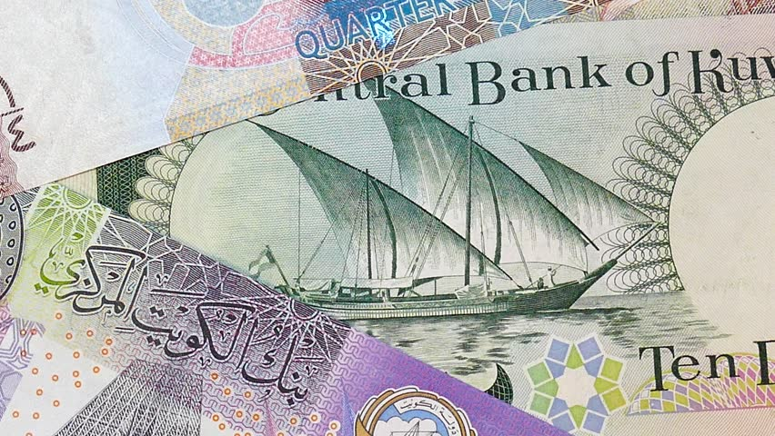 Kuwaiti Dinar Banknotes abstract background, 360 rotation | Shutterstock HD Video #1024868582