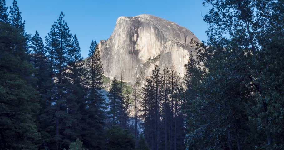 Time lapse from Yosemite Village of Half Dome and Yosemite Valley, Yosemite National Park, California, USA, North America