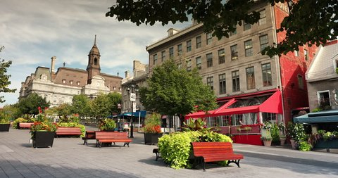 Historic cobblestone streets with shops and restaurants in Old Montreal, Quebec, Canada
