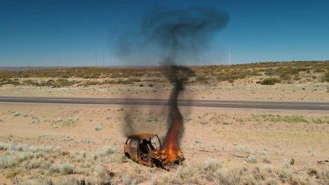 Car Burning Near Road