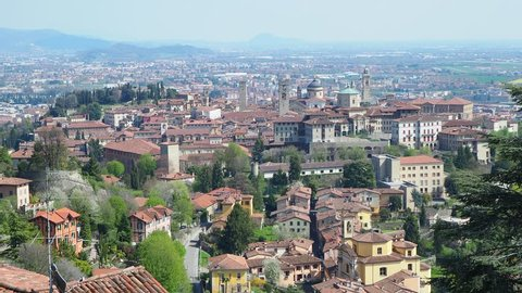 Bergamo. One of the beautiful city in Italy. Landscape at the old town from Saint Vigilio hill