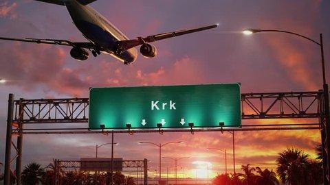 Airplane Landing Krk during a wonderful sunset