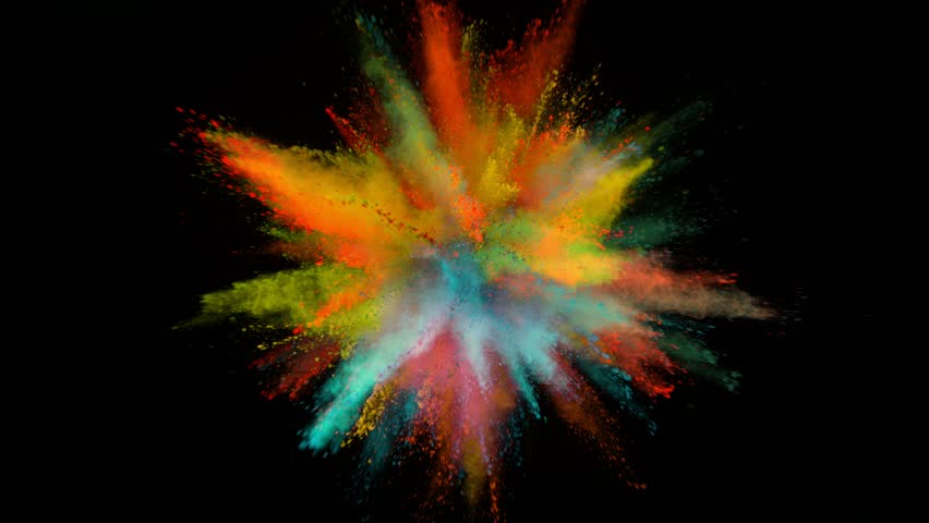 Super slowmotion shot of color powder explosion isolated on black background. Shot with high speed cinema camera at 1000fps #1024962242