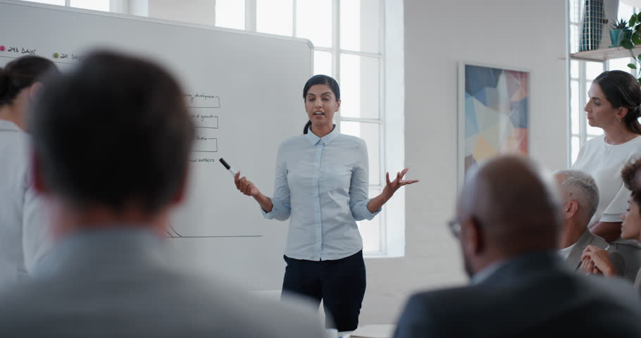Indian business woman team leader presenting project strategy showing ideas on whiteboard in office presentation diverse colleagues enjoying training seminar | Shutterstock HD Video #1025003192