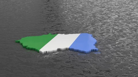 Mato Grosso do Sul rotating 3D country map animation. Glossy surface with reflections.