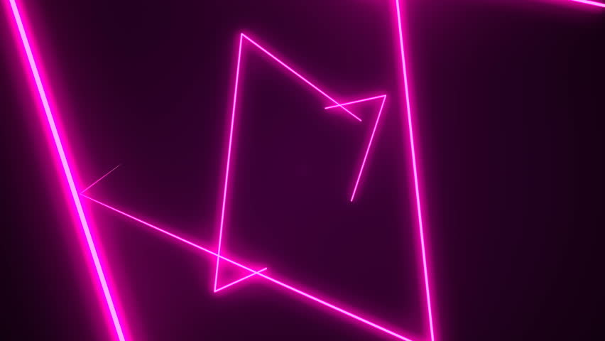 Futuristic HUD triangle tunnel seamless VJ loop. 4K Neon motion graphics for LED, TV, music, show, concerts. Bright retro cosmic night club 3D animation with data flow concept for speed and connection | Shutterstock HD Video #1025110862