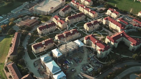Fort Worth, Texas CIRCA 2018. Aerial view of the buildings of Texas Christian University campus in Texas.