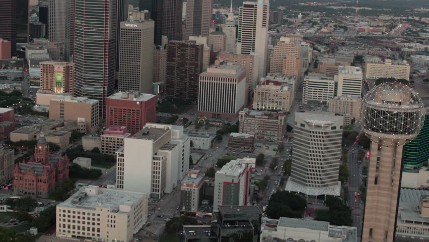 Dallas, Texas CIRCA 2018. Aerial view of downtown city and view of the Reunion Tower in Dallas, Texas.