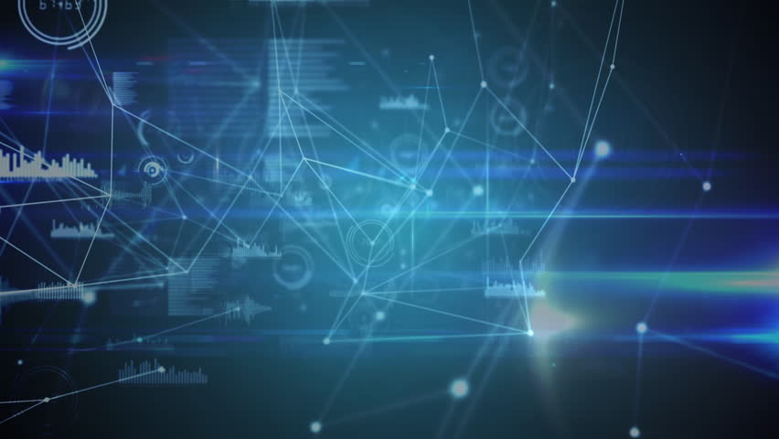 Illustration of networking interface against blue background | Shutterstock HD Video #1025236532