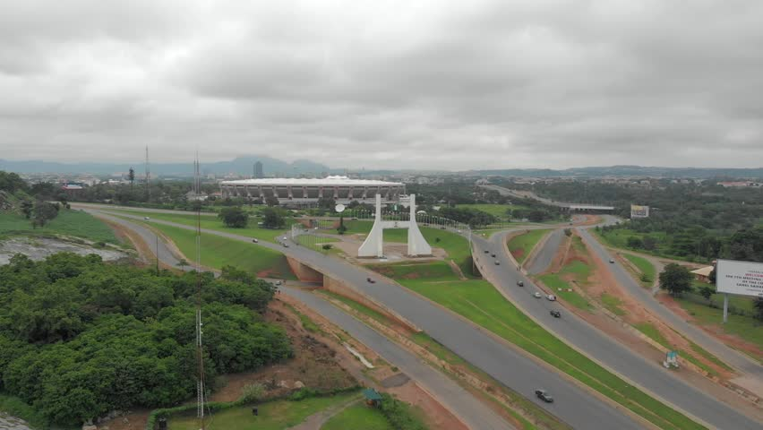4k Aerial view of Abuja City Gate, Federal Capital Territory, Nigeria in Morning light