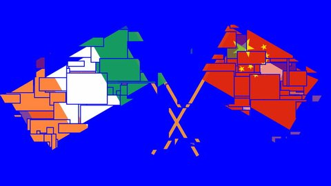 The Footage with crossed flags of Ireland and China in front of a blue screen. Chroma Key