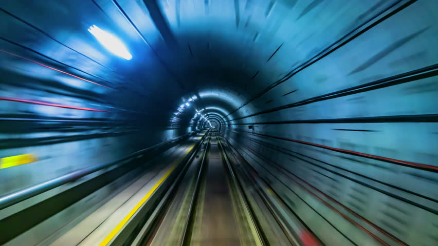 4K.Time lapse automatic train subway tunnel fast speed | Shutterstock HD Video #1025306312