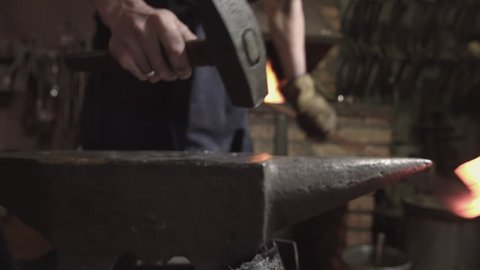 Iron on fire. Forging metal. Forge