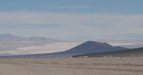 Close up of heat haze effect on desertic volcanic landscape. Black Carachi Pampa volcano at background. Antofagasta de la Sierra, Catamarca, Argentina