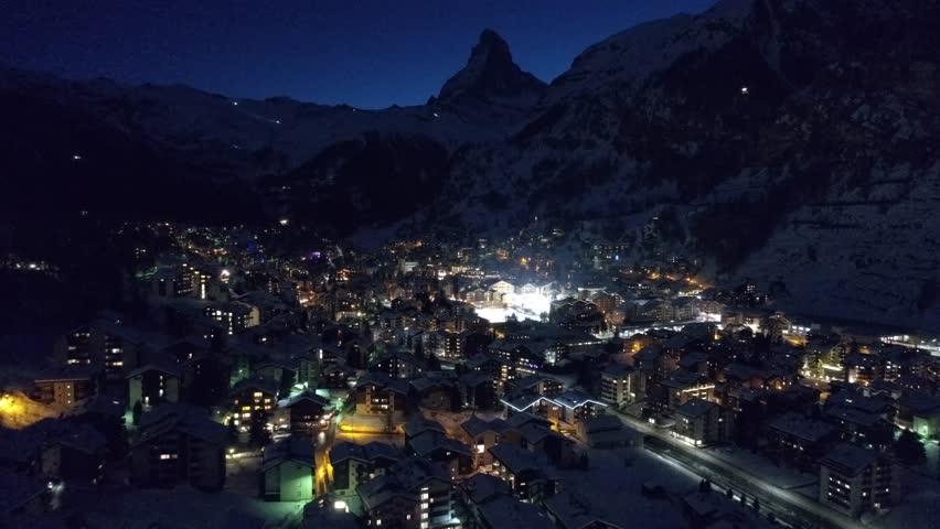Zermatt Switzerland Ski Swiss Alps Matterhorn Snow Mountains Sunset Winter Aerial 4K | Shutterstock HD Video #1025359322